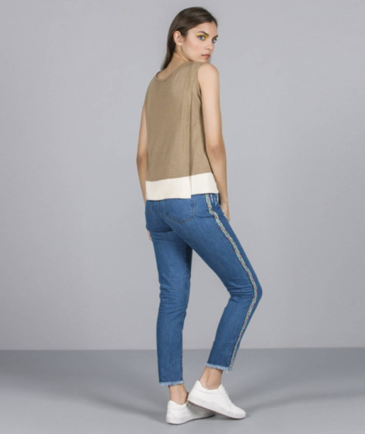 Jeans with side application