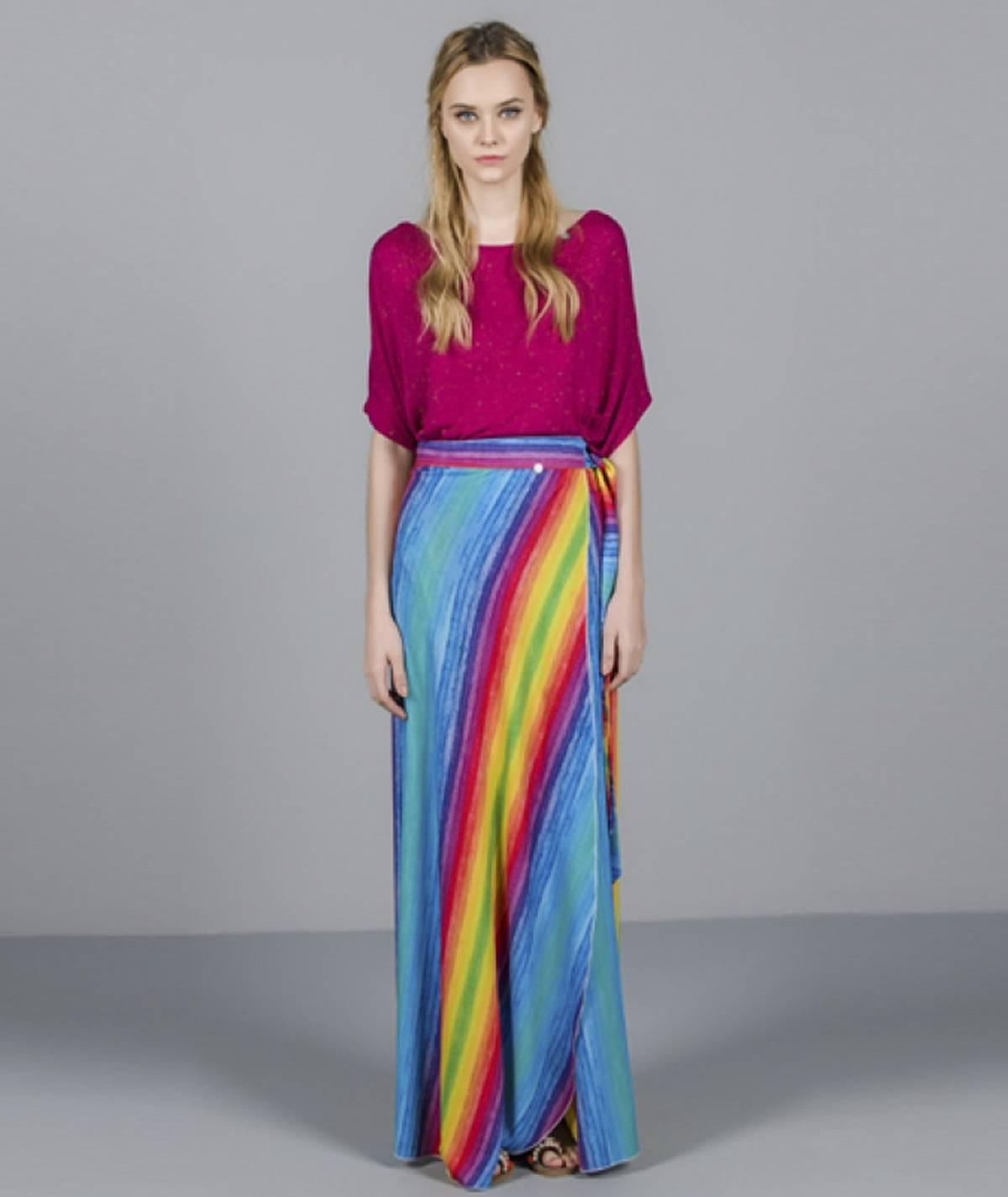 Saia estampado arco-iris