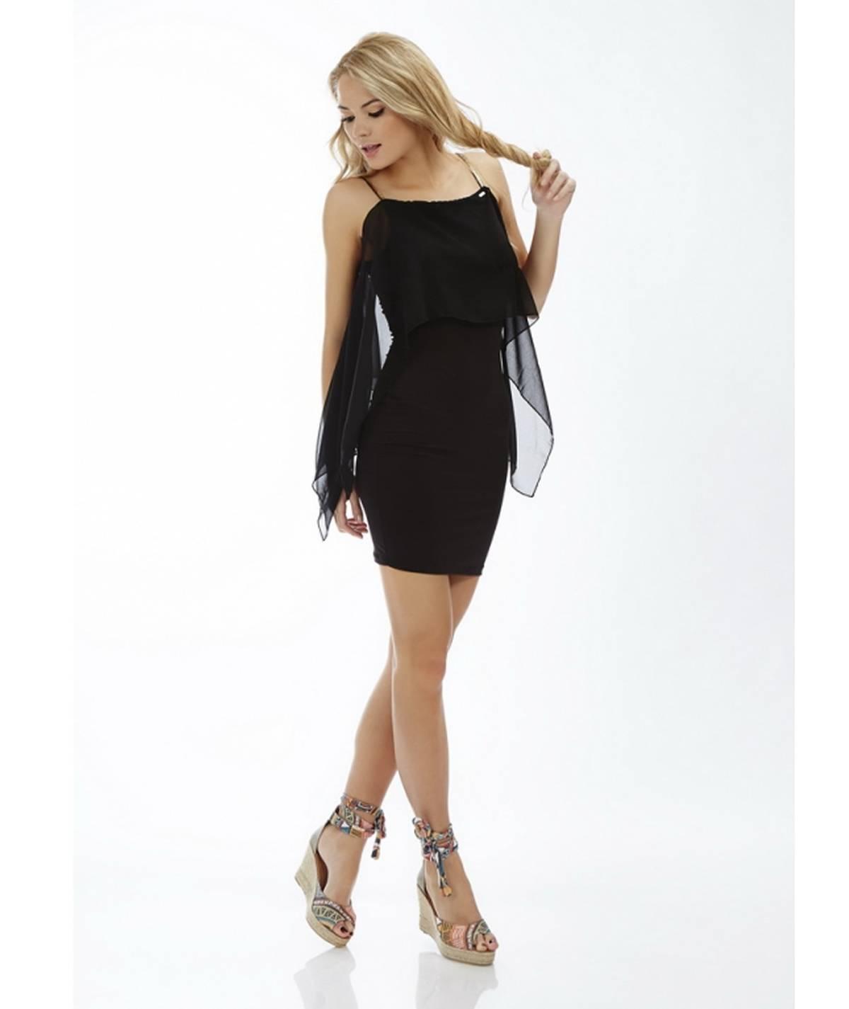 Dress with translucent ruffle