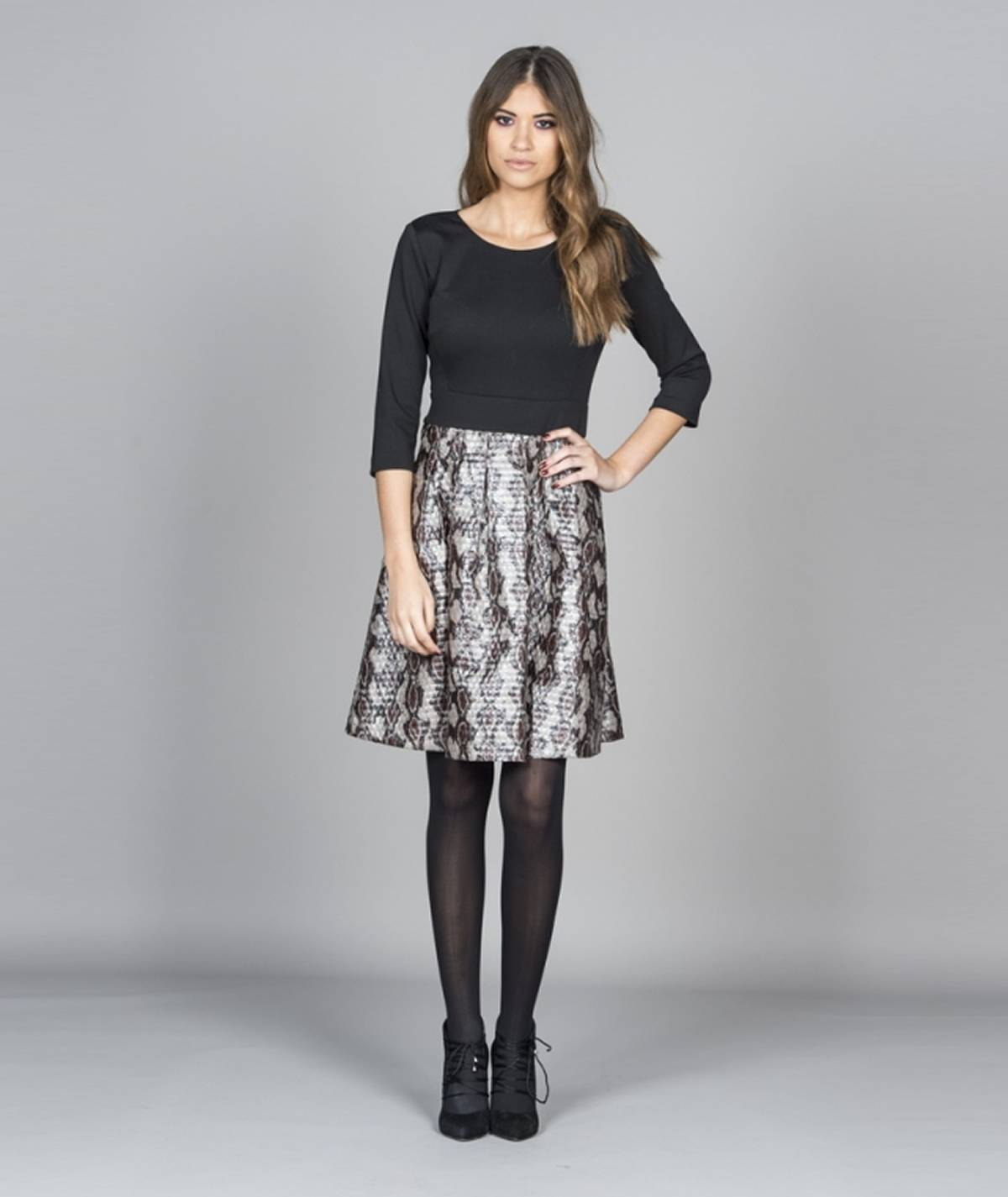 Dress with snake skin skirt