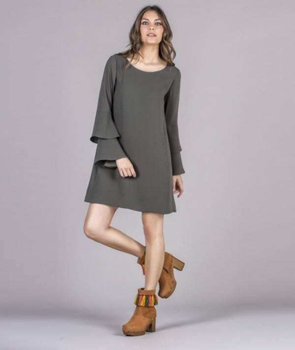 Frilled sleeve dress