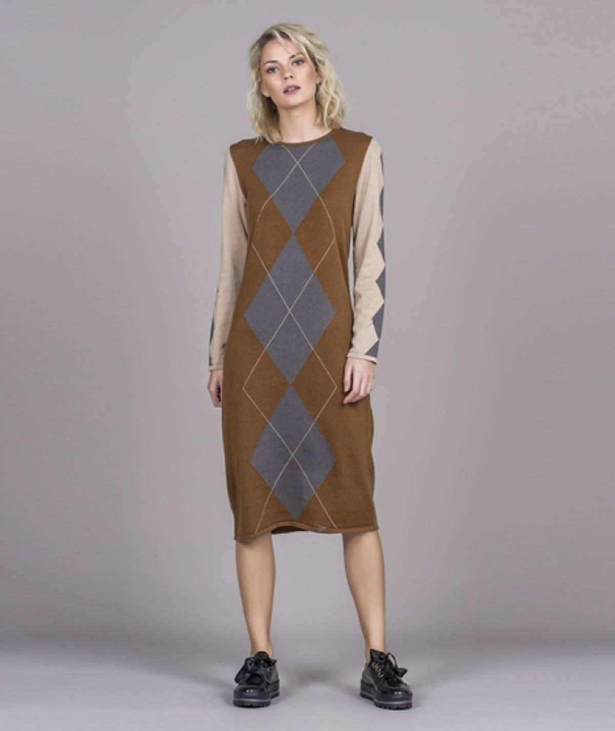 [CHIESSY] Vestido  losangos