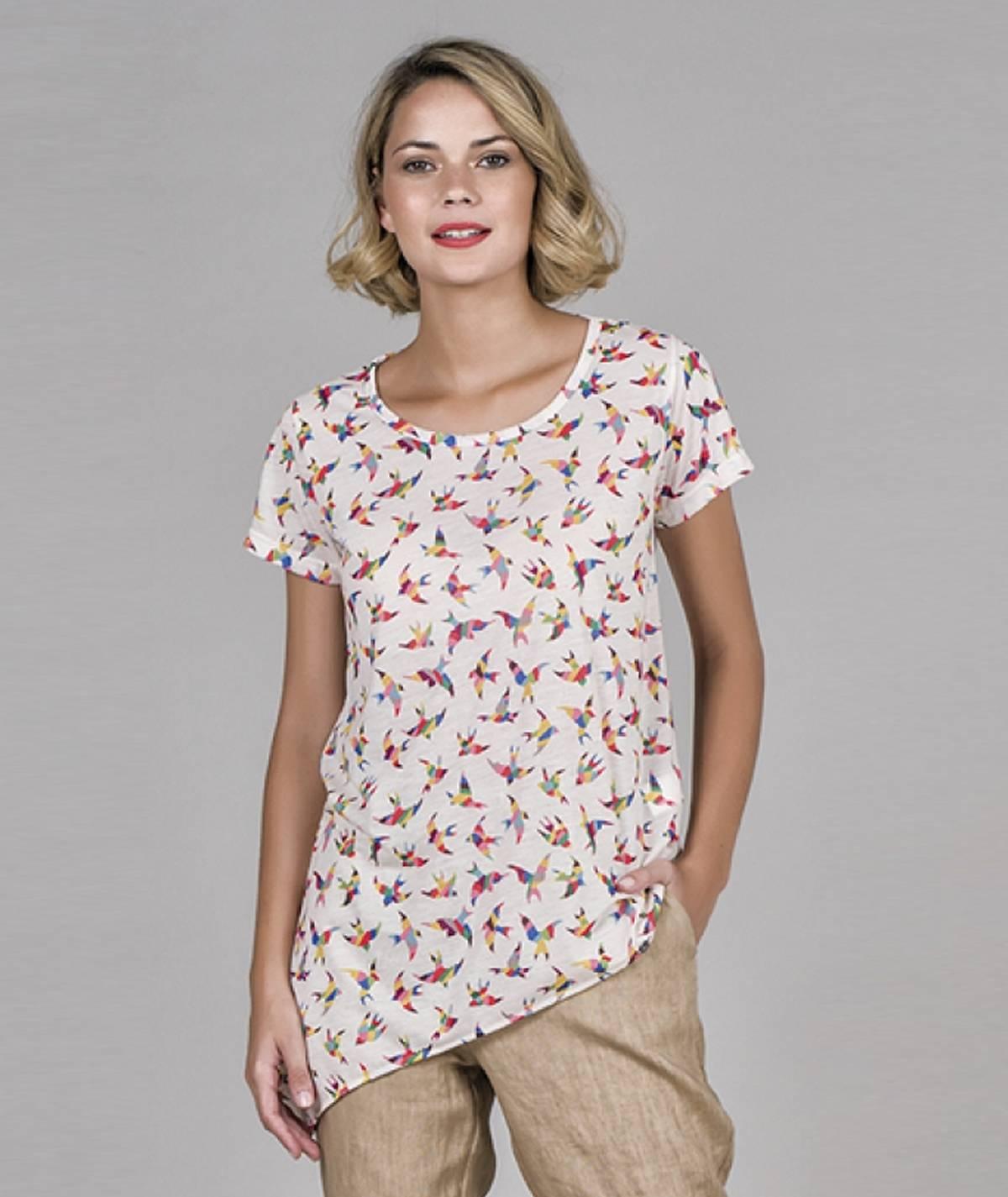 T-shirt Assimétrica pássaros