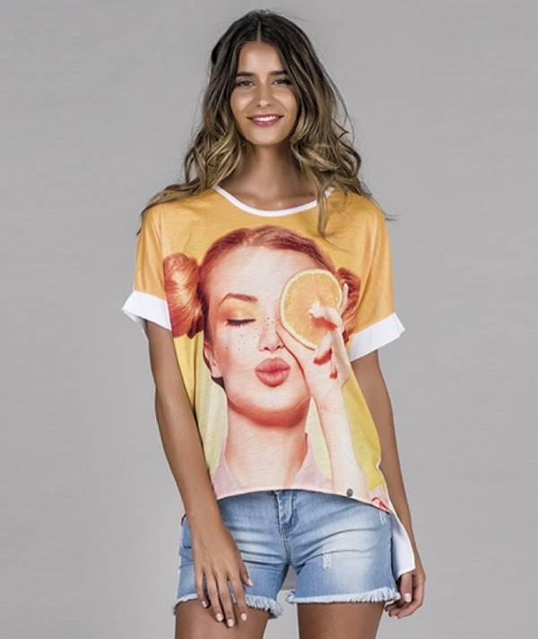 Orange motif T-shirt