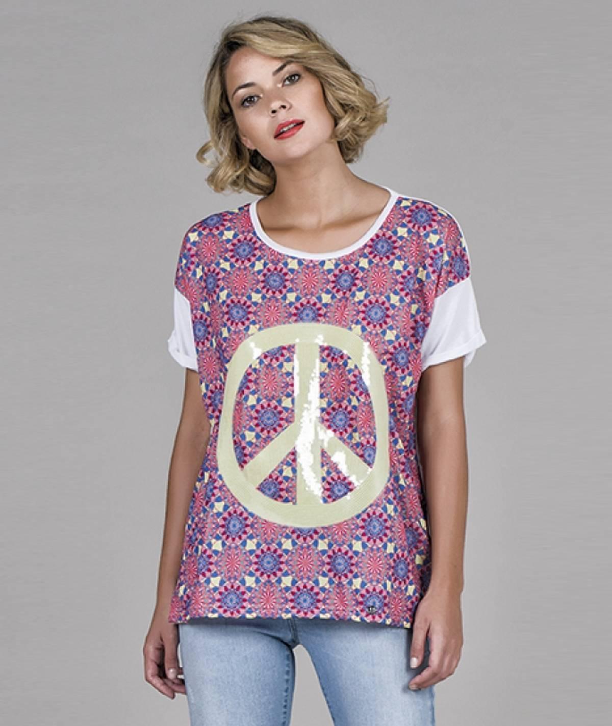 T-shirt bordado em lantejoulas