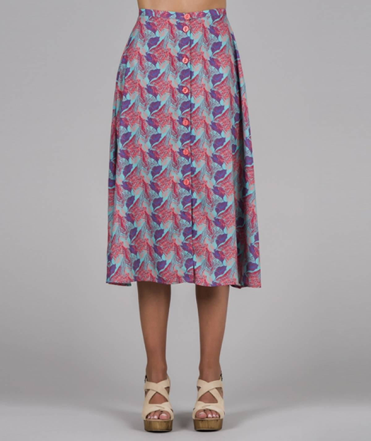 Skirt with leaves print