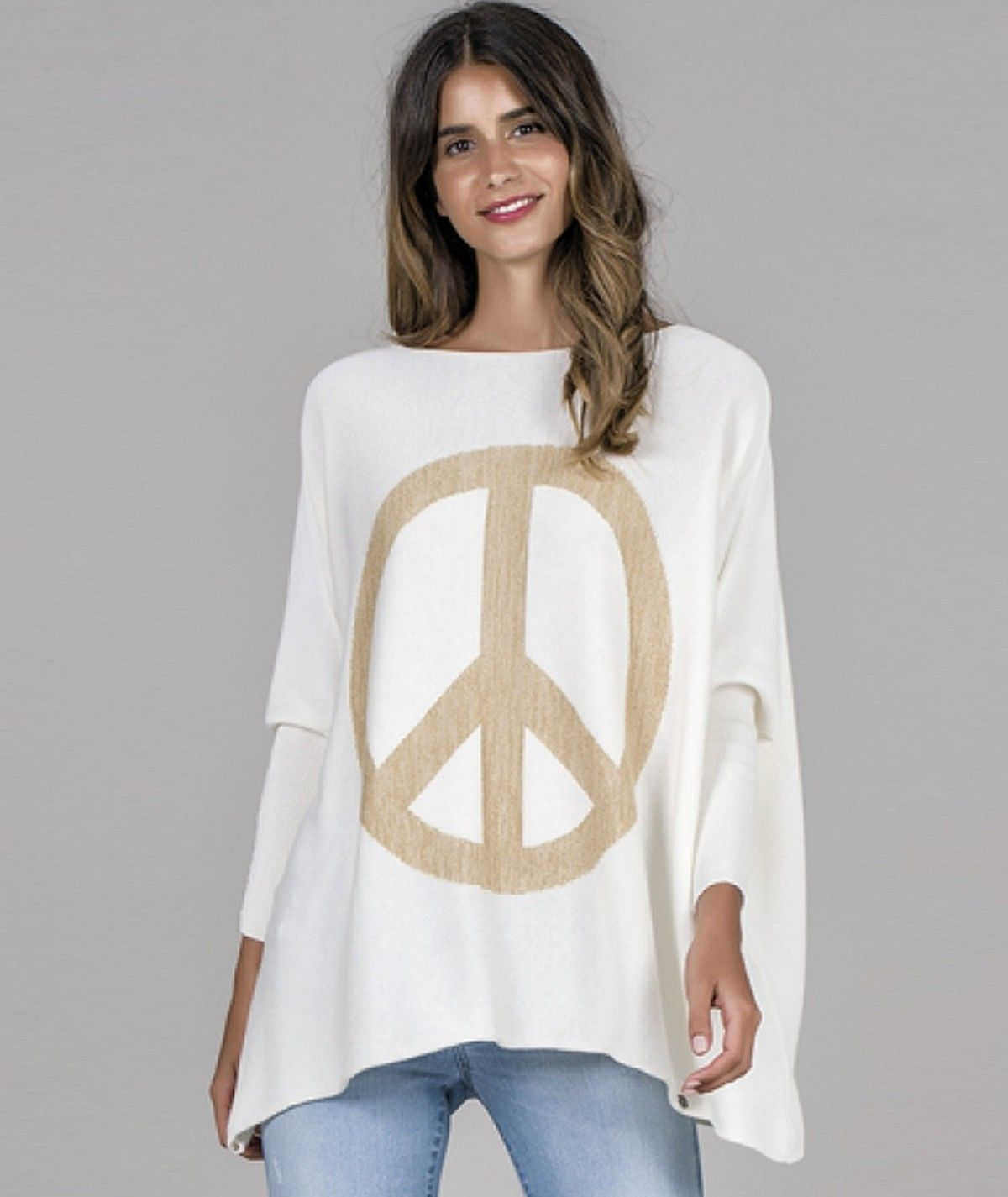 Peace motif sweater