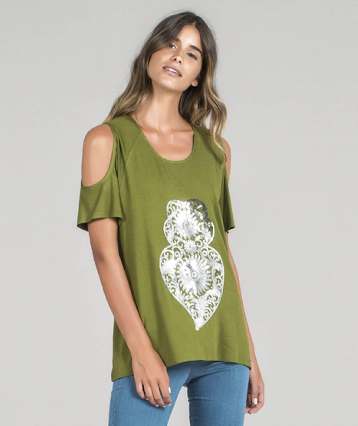 T-shirt  motivo coração