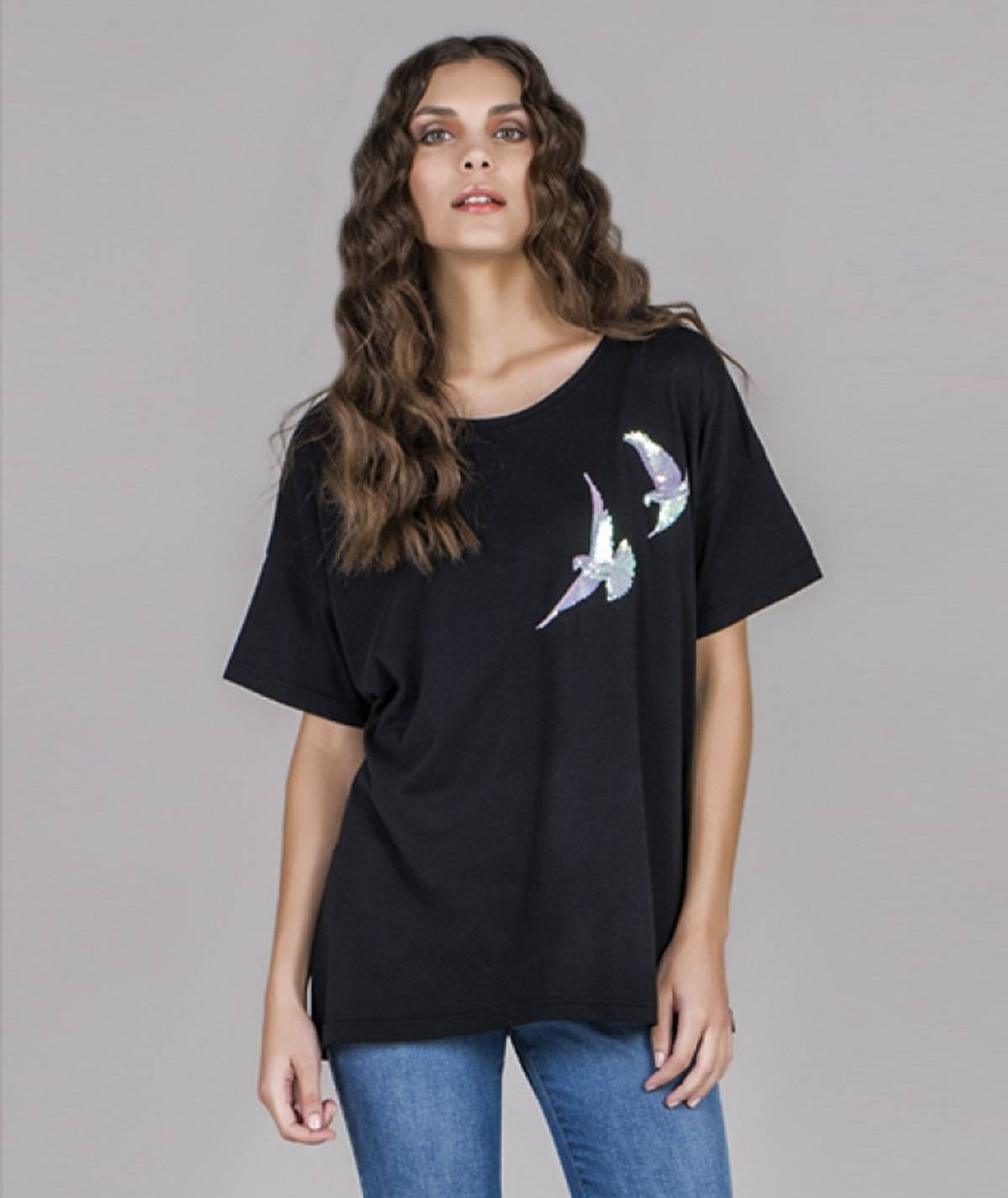 [CHIESSY] T-shirt pássaros