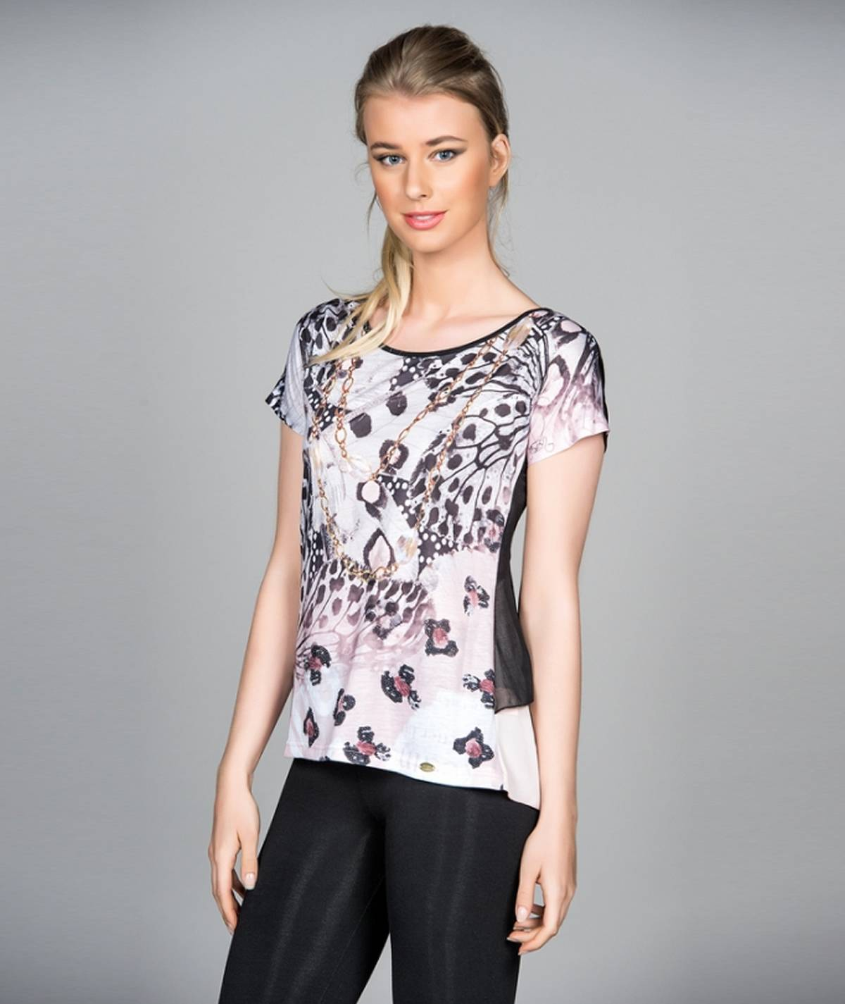 Printed tunic with short...