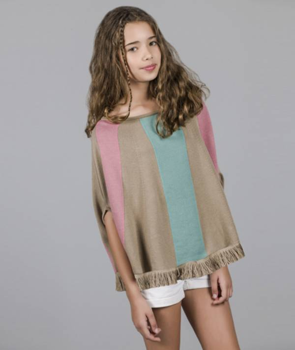 Poncho with stripes
