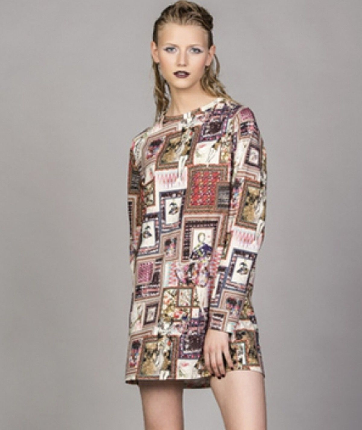 Tunic with graffiti print