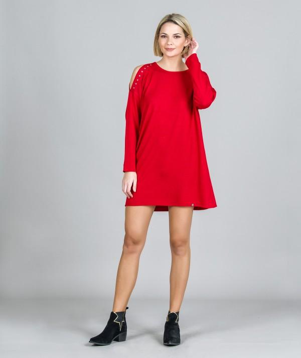 Short dress with cut