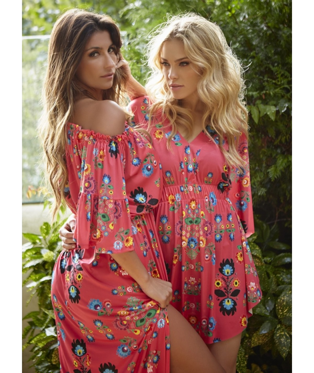 Long printed dress with...