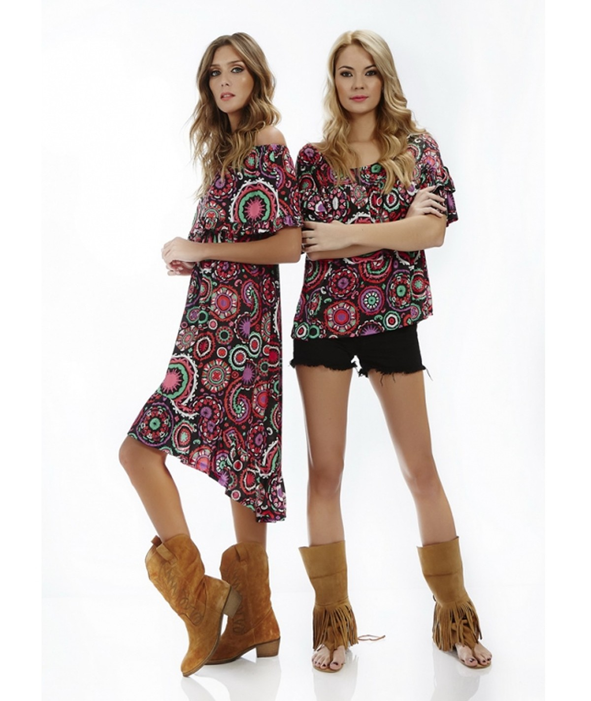 Printed tunic with ruffles...