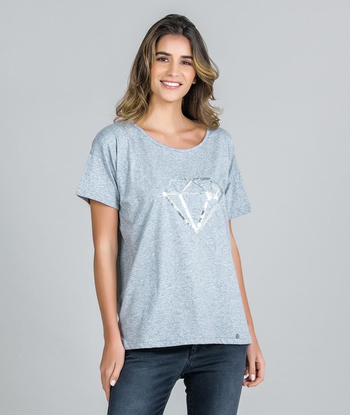 T-Shirt Bordado Lantejoulas
