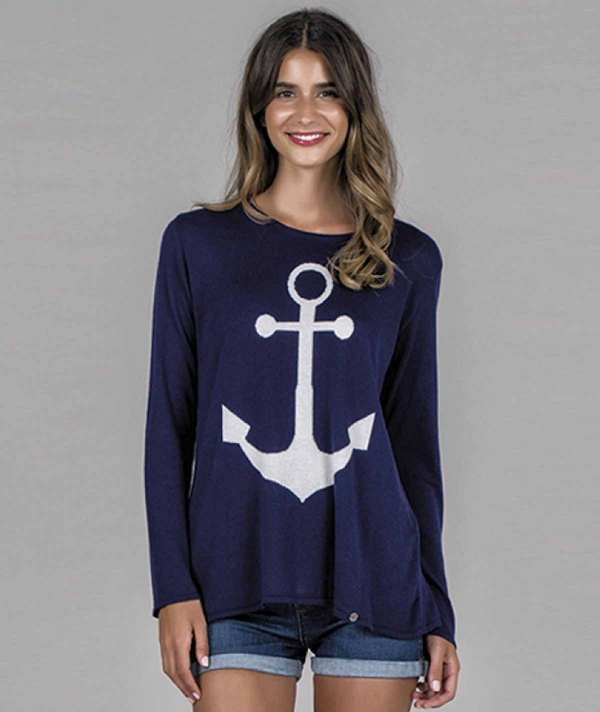 Sweater with anchor motif