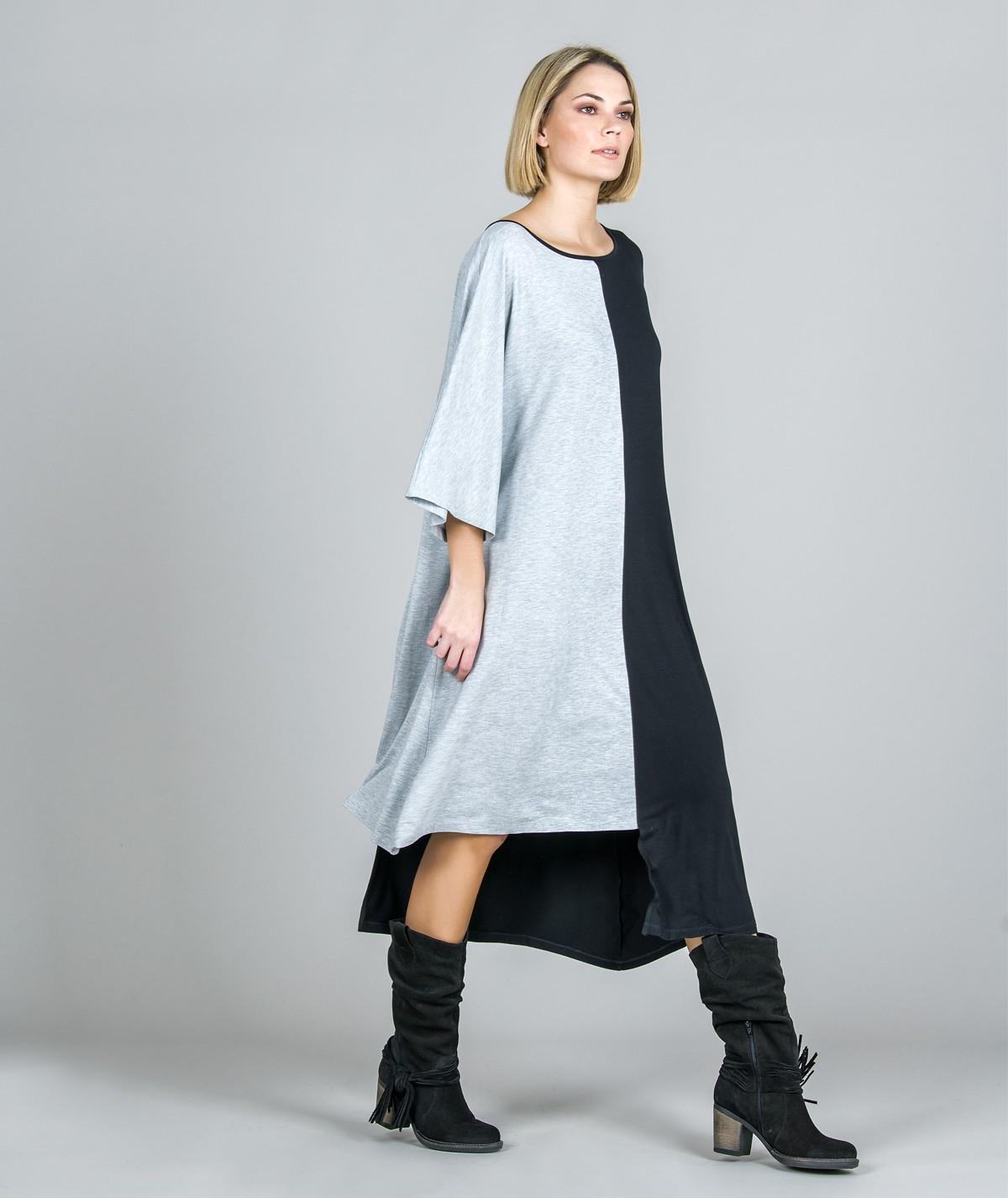 Vestido assimérico Bicolor