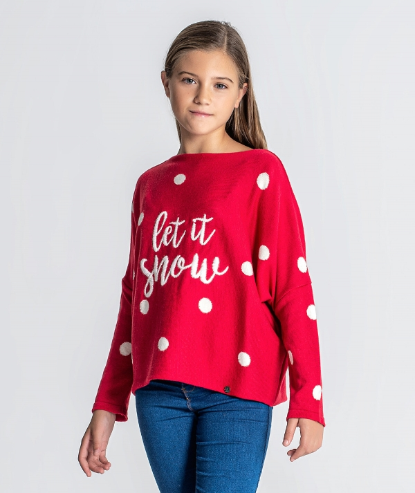 Sweater with let...