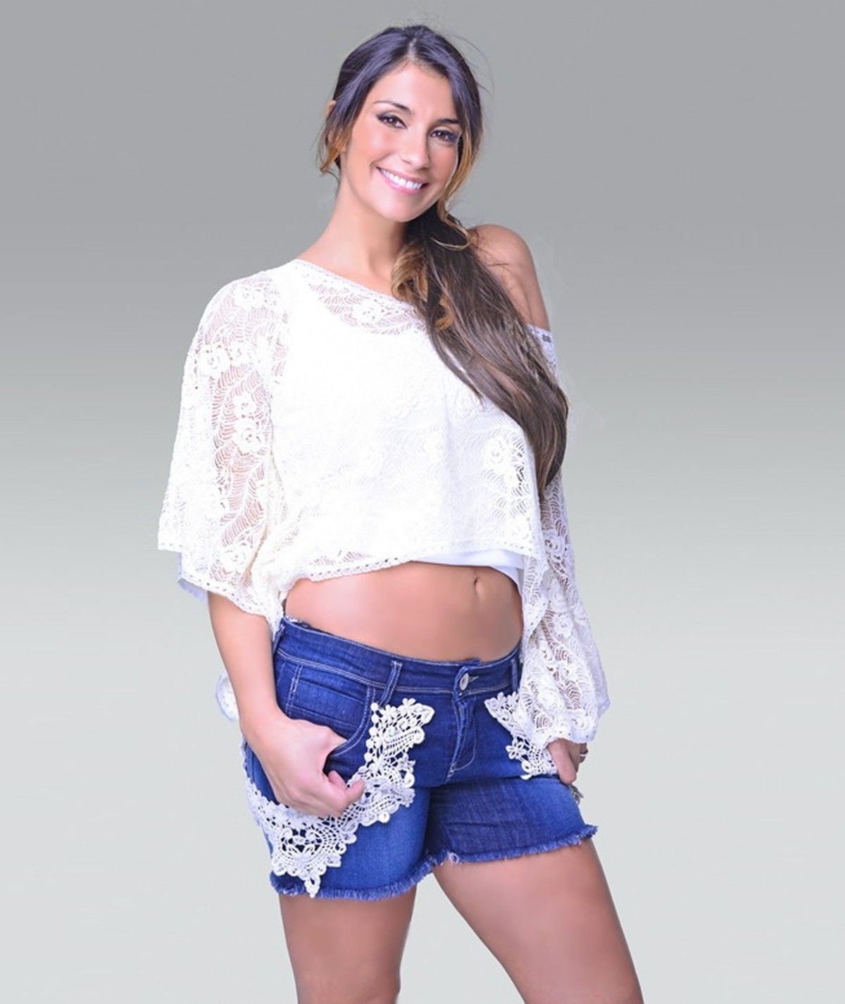 Denim shorts with side...