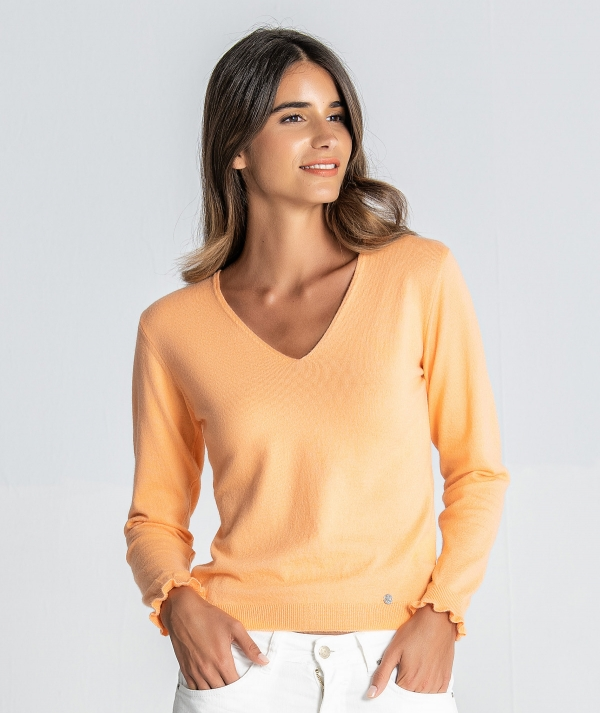V-neck sweater...