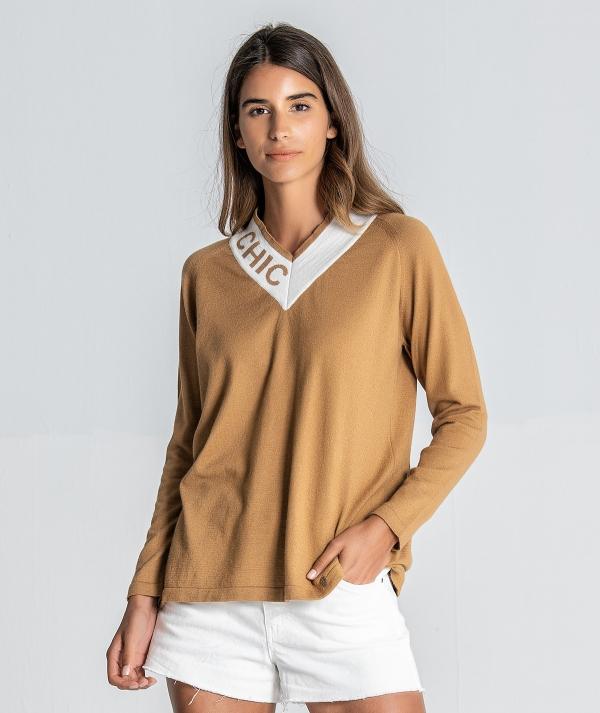 V-neck sweater...