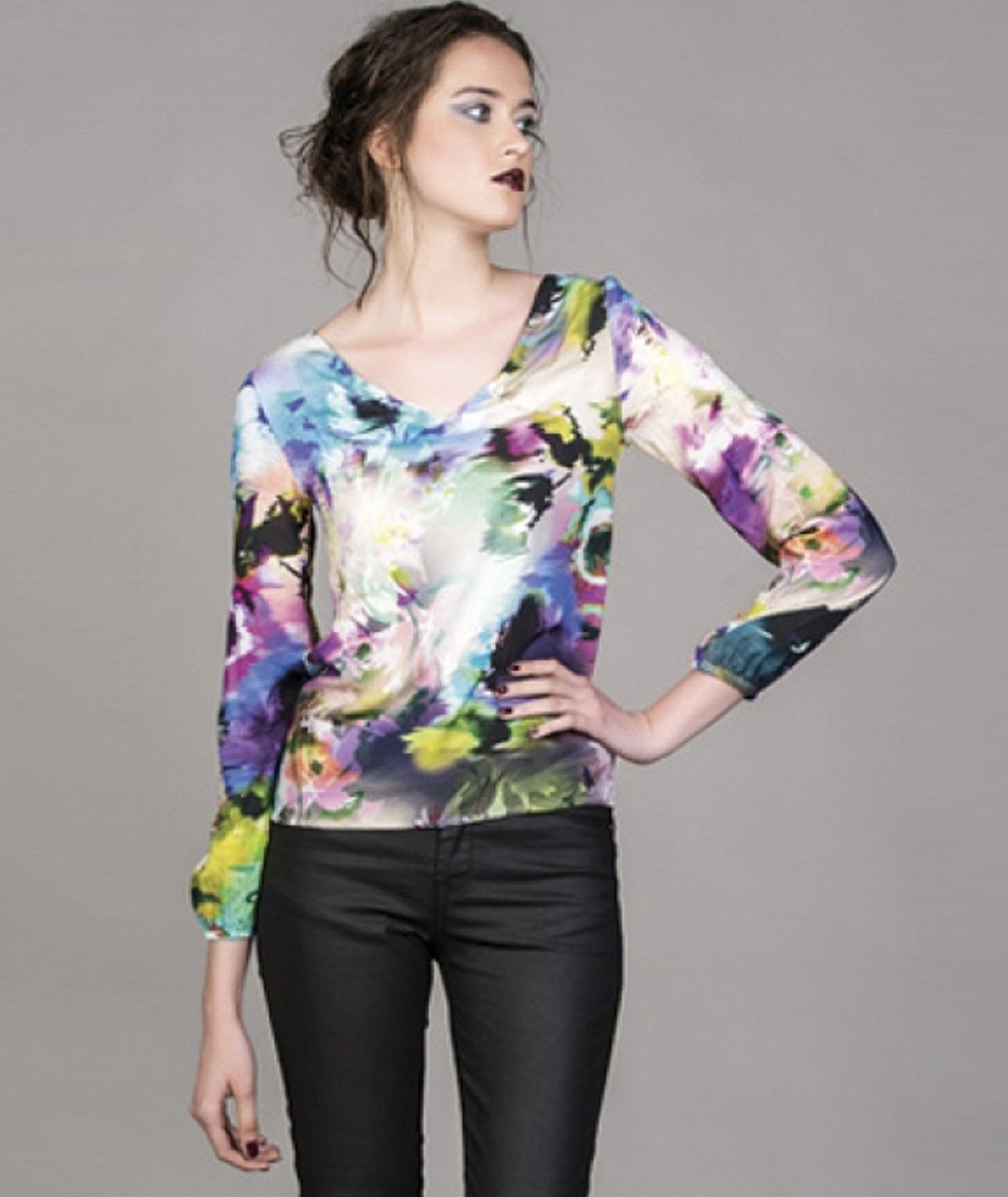 V-neck blouse with blurred...