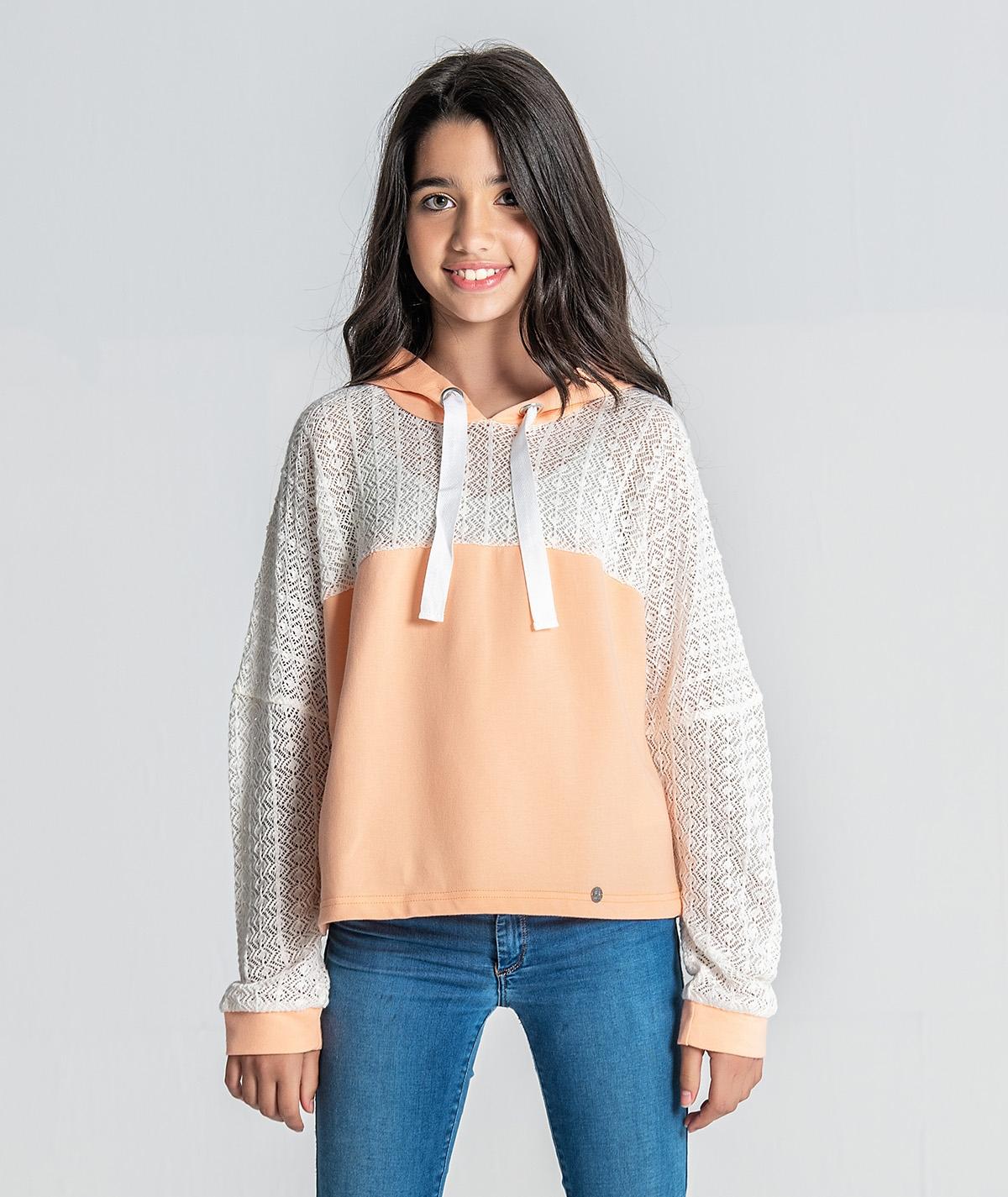Sweater com detalhe tricot