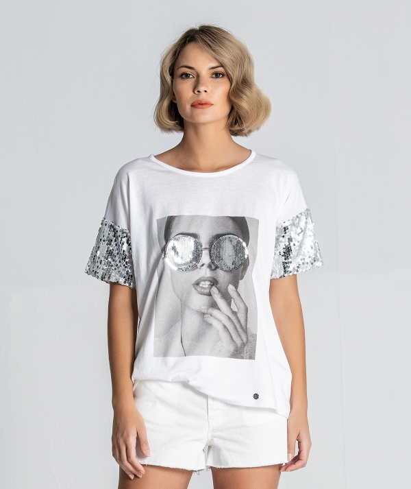 T-Shirt  lantejoulas