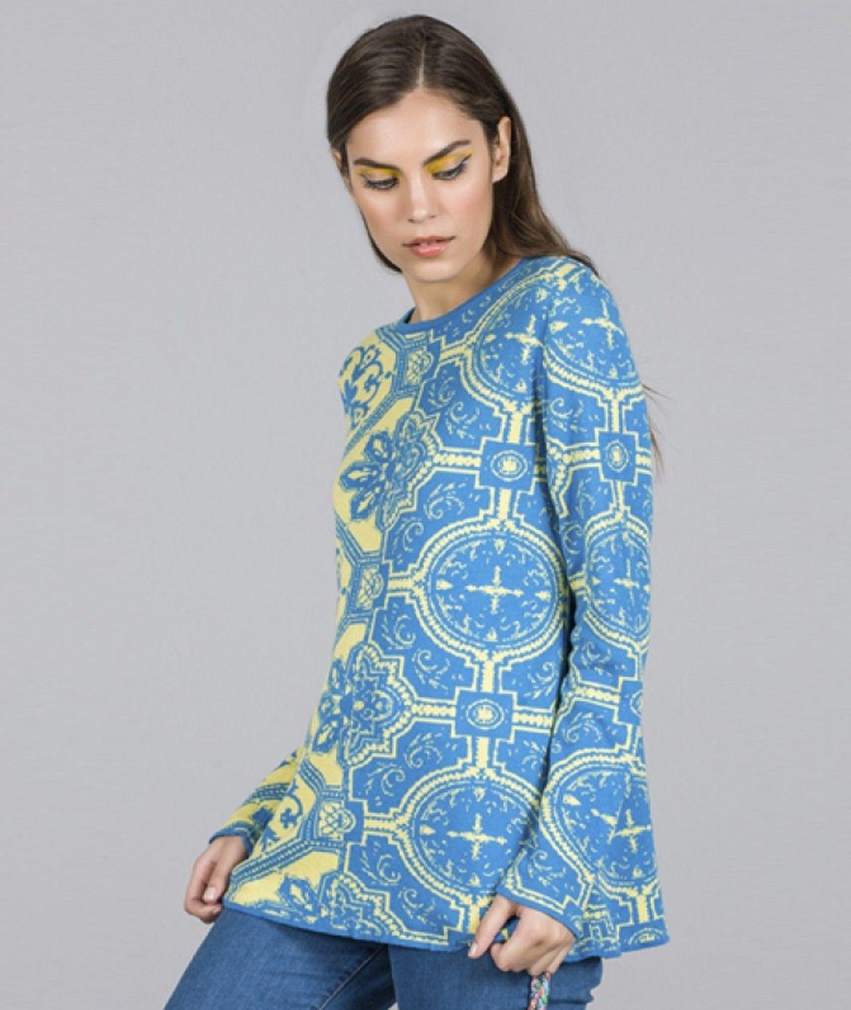 Camisola com motivo mosaico