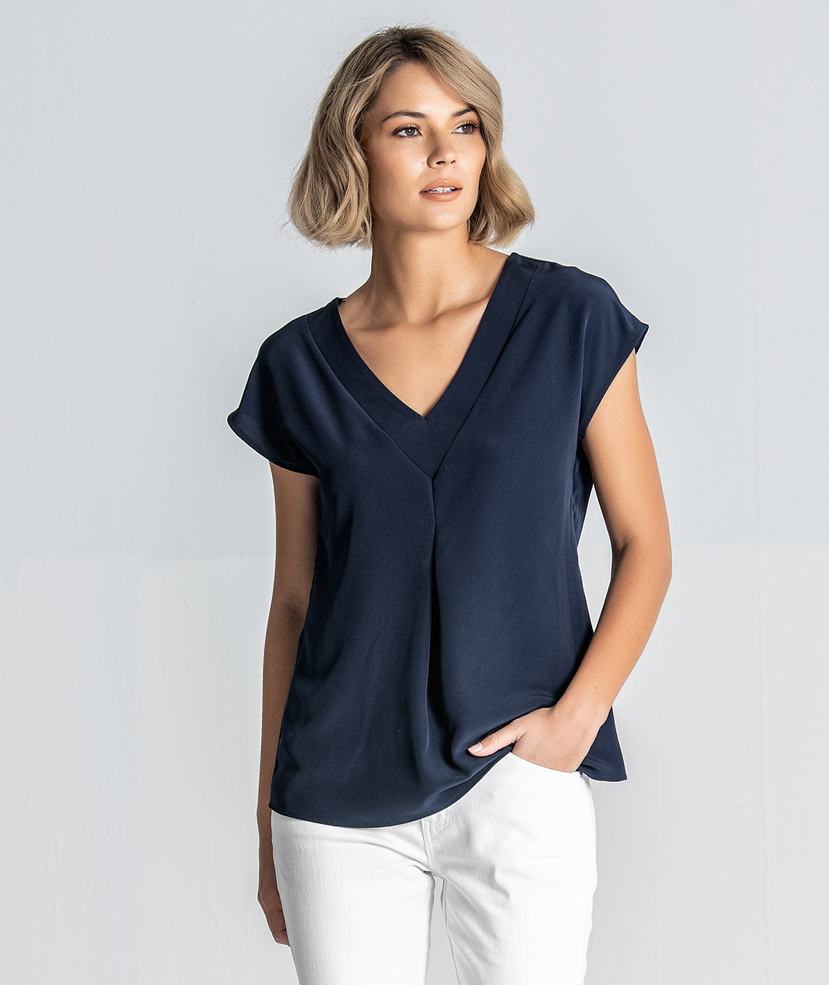 Blusa decote em V sem manga