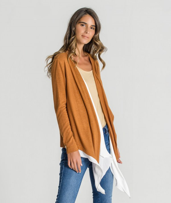 Cardigan with fabric