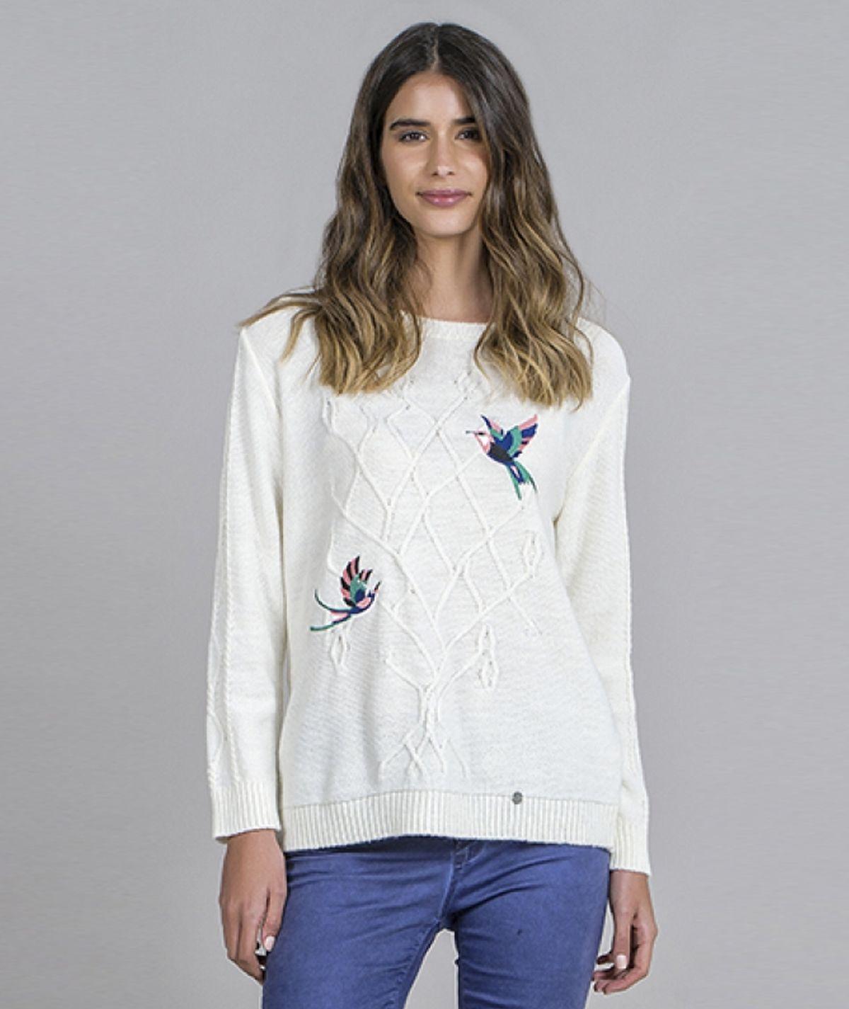 Camisola  bordado pássaros
