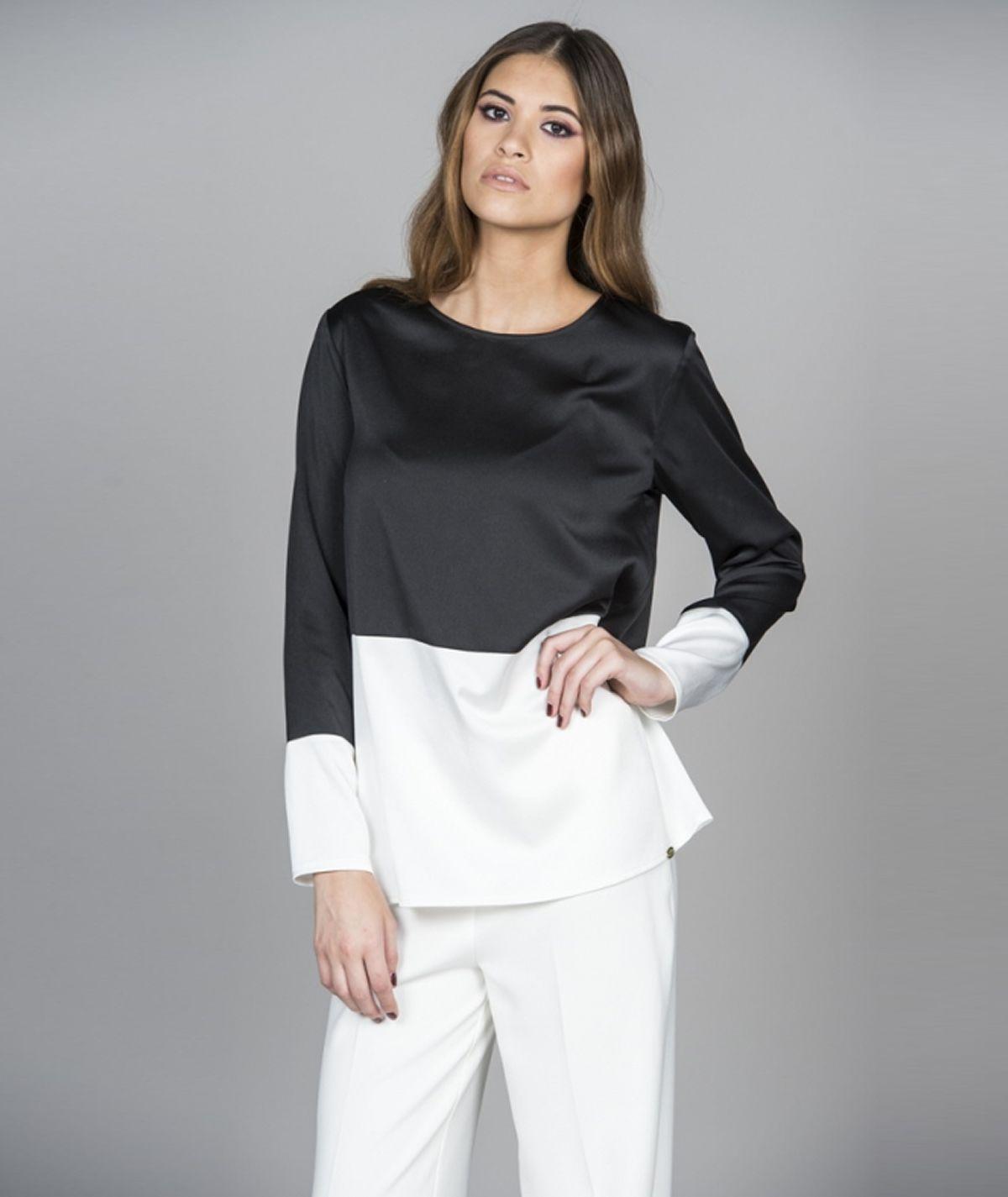 [CHIESSY] Blusa de duas cores