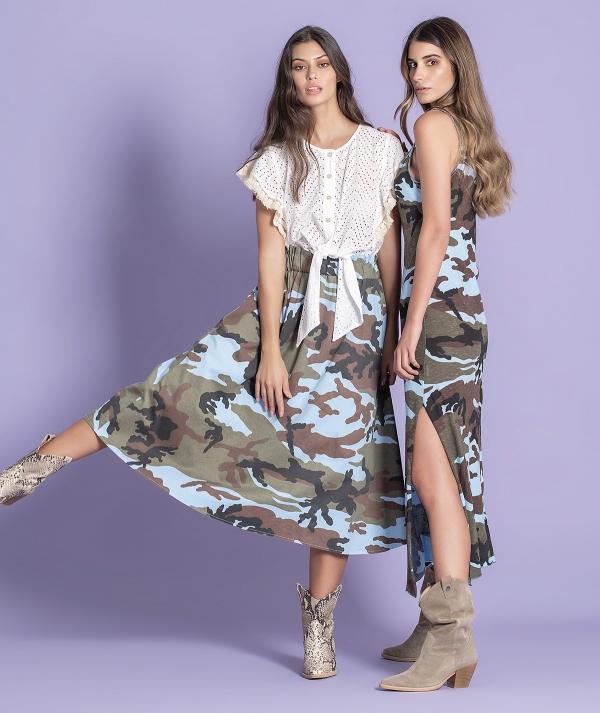 Midi skirt with...
