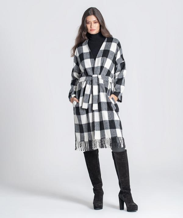 Plaid long coat...