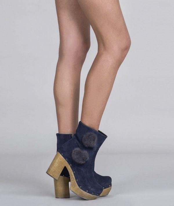 Pom pom ankle boots